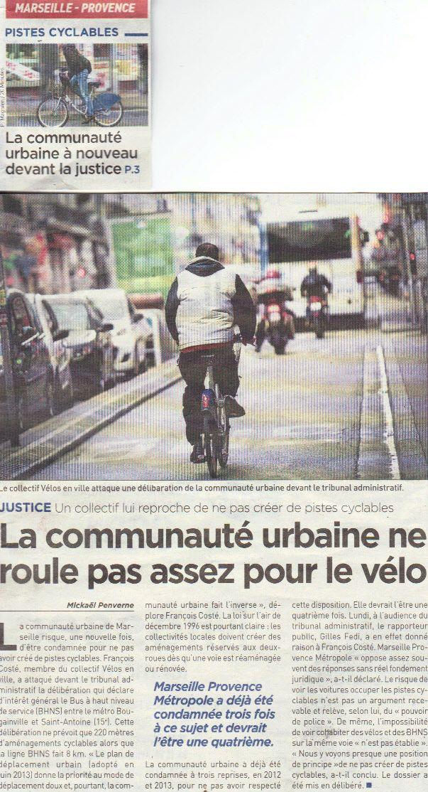 Collectif Vélos en Ville Marseille 20 minutes Aménagements cyclables