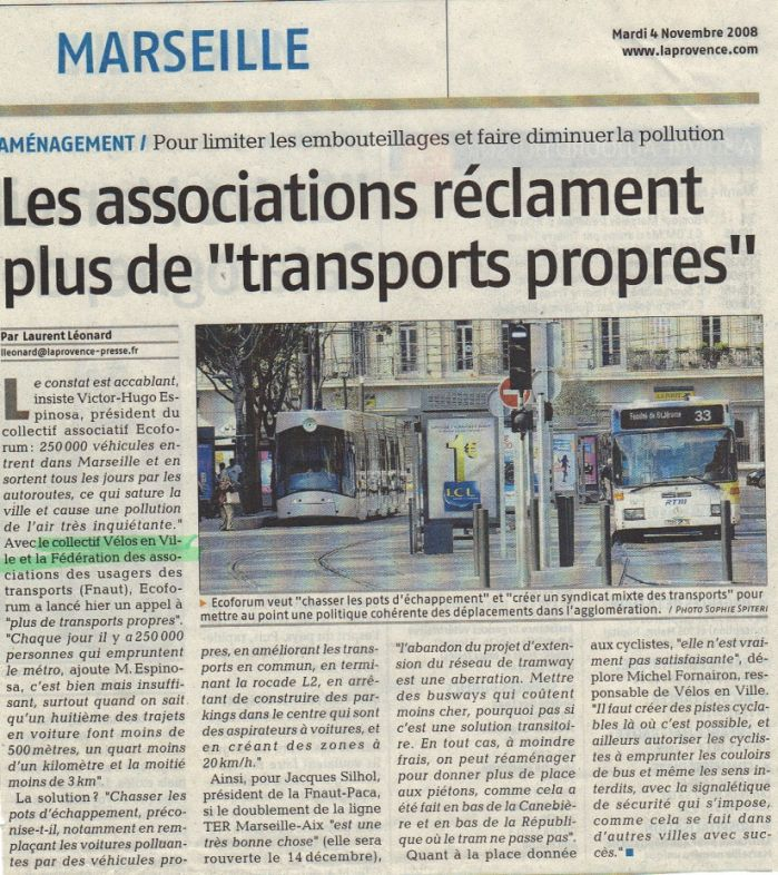 2008.11.04.La Provence.Les associations réclament plus de transport propres